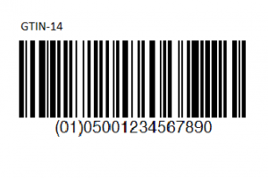 A GTIN-14 Barcode and code